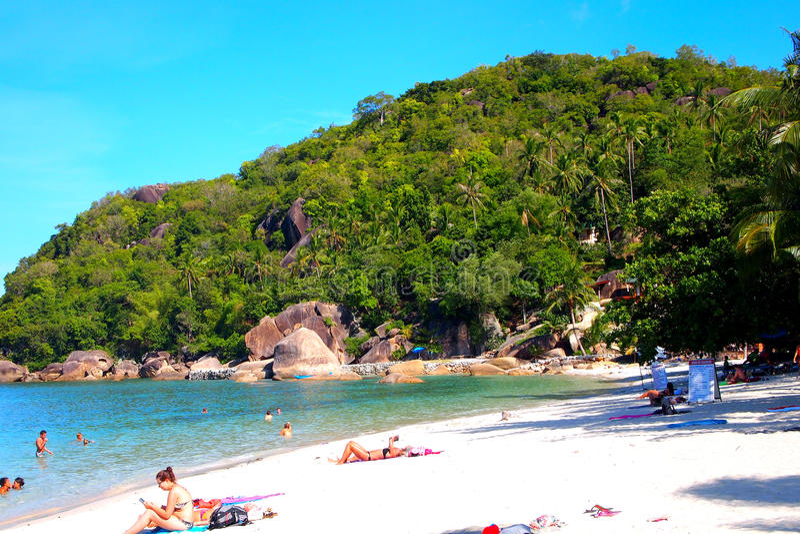 De mensen ontspannen in een tropisch strandparadijs stock fotografie