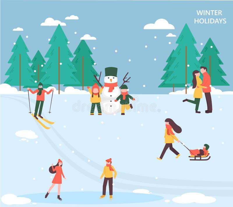 De mensen ontspannen in de winterpark royalty-vrije illustratie