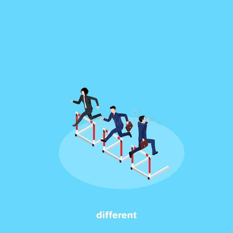 De mensen in pakken concurreren in het lopen met hindernissen maar gelopen in verschillende richtingen stock illustratie