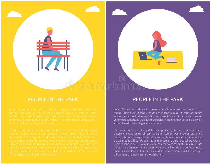 De mensen parkeren Affichejongen zitten op Bankvrouw op Deken stock illustratie