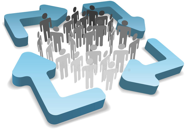 De mensen in procesbeheer recycleren cycluspijlen royalty-vrije illustratie