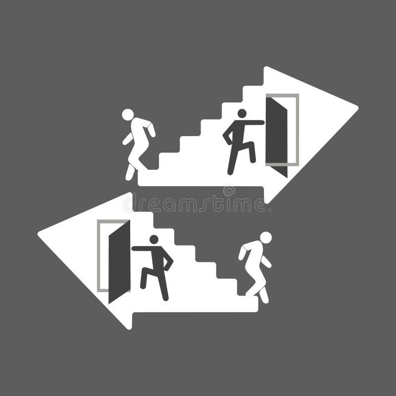 De mensen reduceren de treden deuren uitgang evacuatie vector illustratie