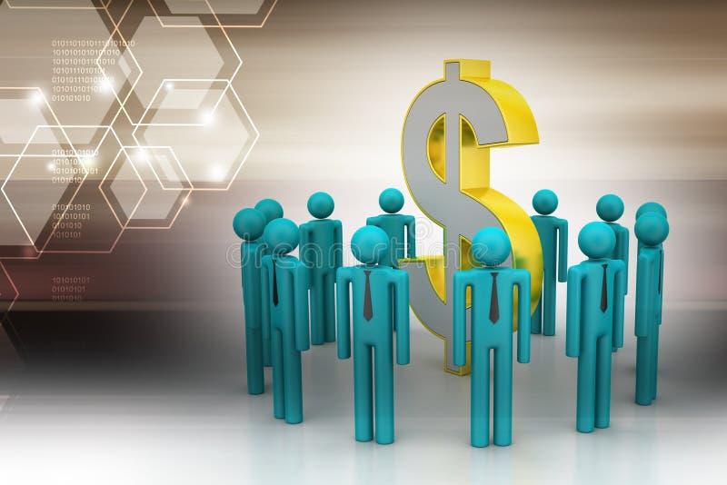 De mensen rond dollar ondertekenen royalty-vrije illustratie