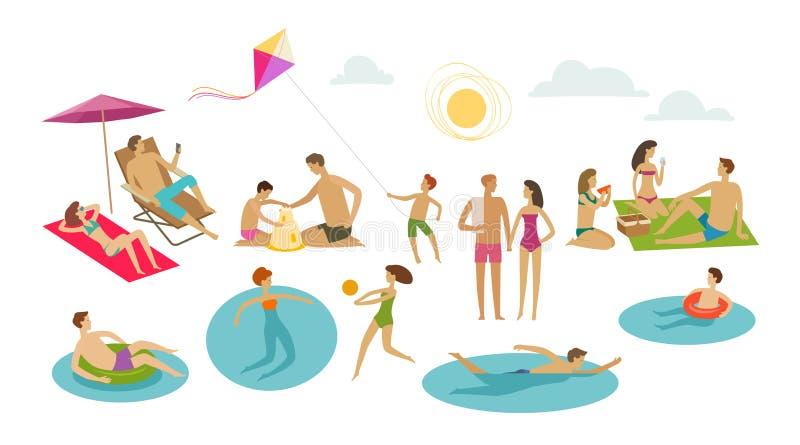 De mensen rusten op strand Vakantie, de zomerconcept De vectorillustratie van het beeldverhaal vector illustratie