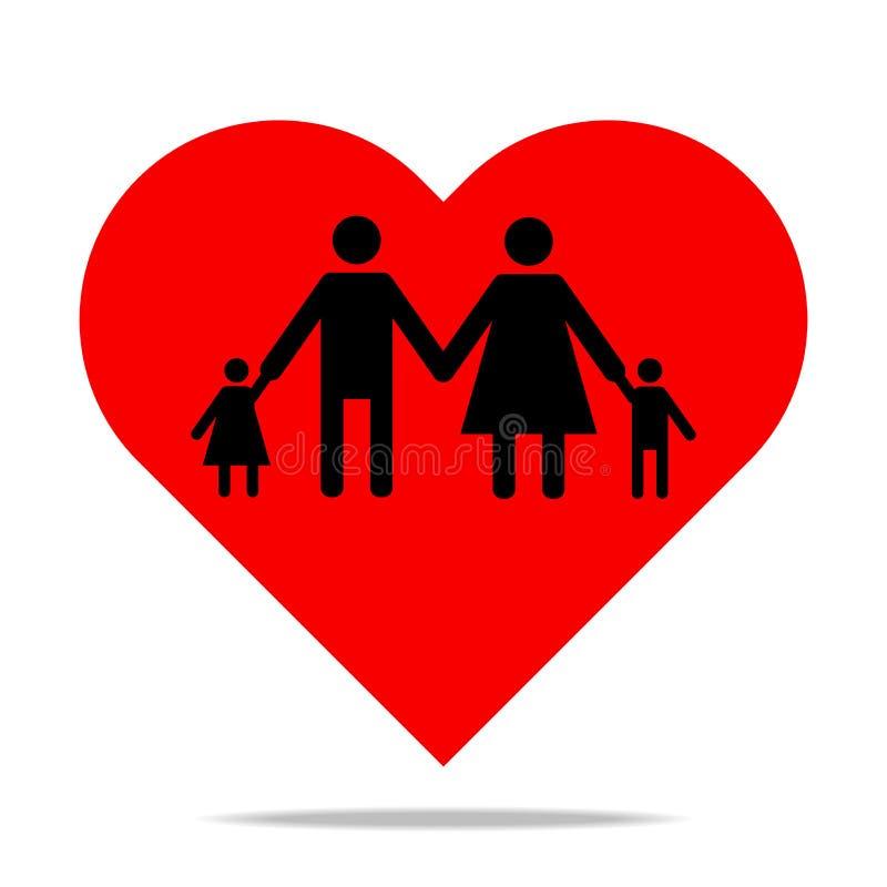 de mensen sluiten zich aan handen bij pictogram in rode hartvorm voor Web en ontwerp, het concept van de familieliefde stock illustratie