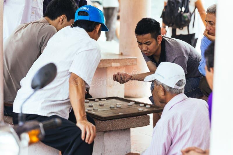 De mensen spelen het Chinese Schaak van Xiangqi met publiek op het land op het gebied van Trang Grotten in de zomer in Ninh Binh, royalty-vrije stock fotografie