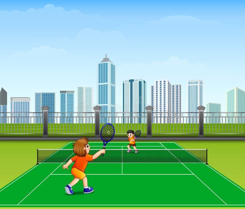 De mensen spelen tennis openlucht royalty-vrije illustratie