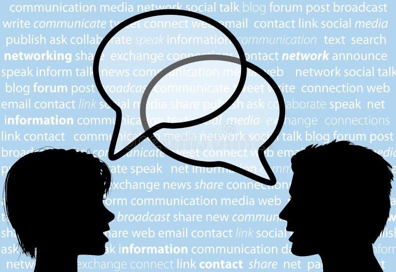 De mensen spreken de toespraakbellen van het aandeel sociale netwerk stock illustratie