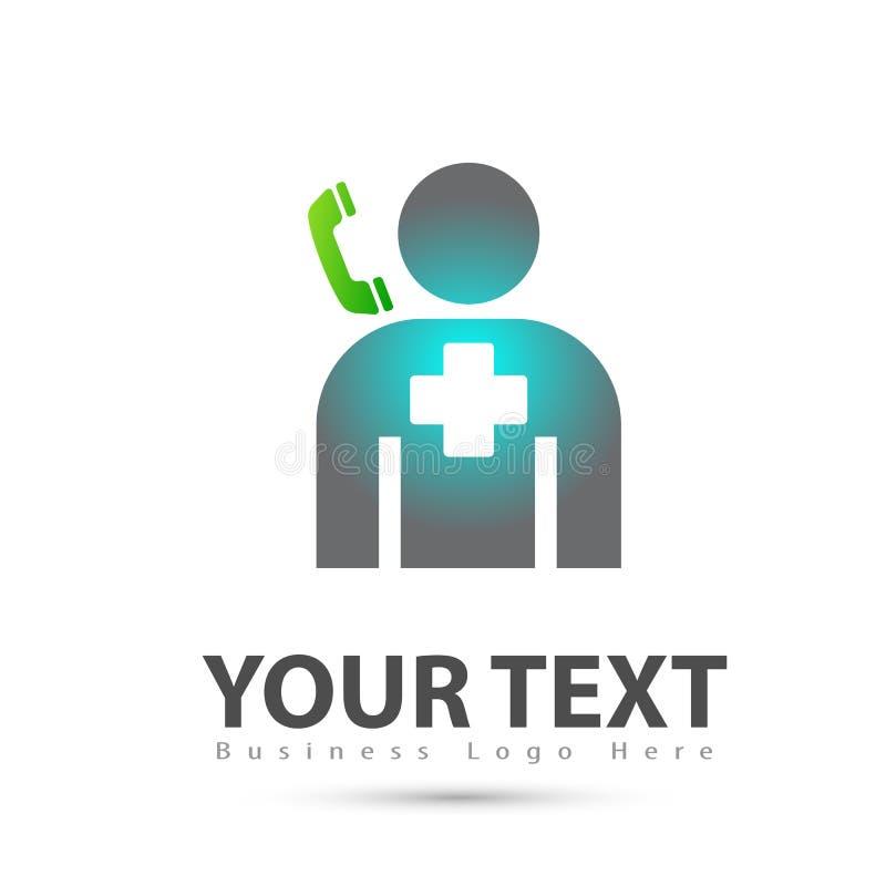 De mensen telefoneren gezondheidszorgembleem stock illustratie