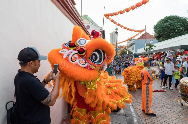 De mensen in traditioneel kostuum voeren de Chinese leeuwdans, Chinatown, Singapore uit stock foto's