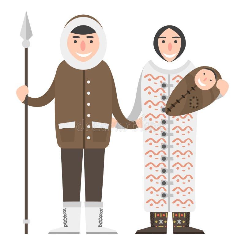 De mensen van Alaska koppelen het vlakke van de reis nationale karakters van stijl vectoramerika noordpoolgebied van het het wild royalty-vrije illustratie