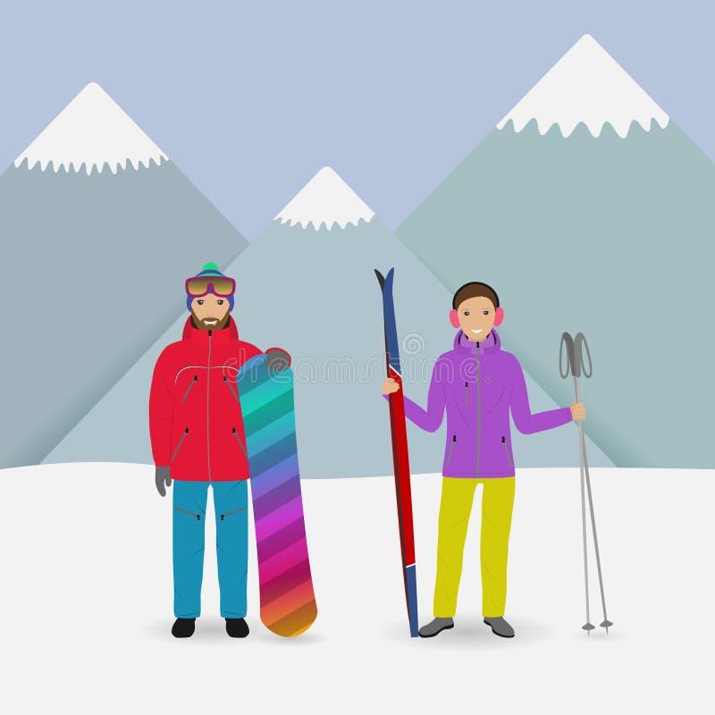 De mensen van de de wintersport Man met een snowboard en vrouw met skis op een bergenachtergrond vector illustratie