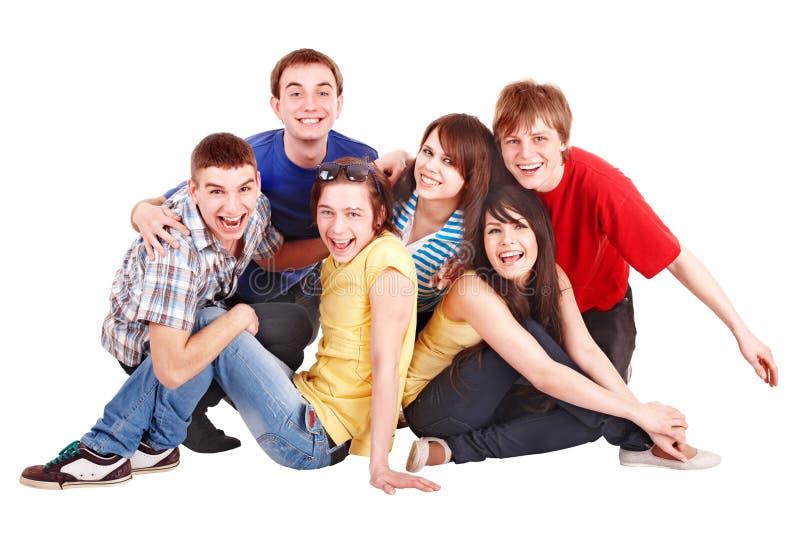 De mensen van de groep in kleurrijke t-shirt. royalty-vrije stock fotografie