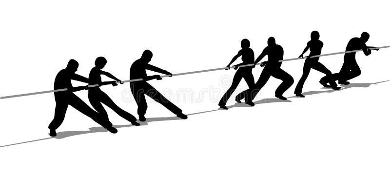 De mensen van de touwtrekwedstrijd silhouetteren royalty-vrije illustratie
