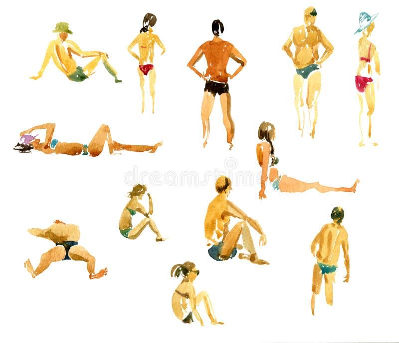 De mensen van de waterverftekening bij het strand vector illustratie