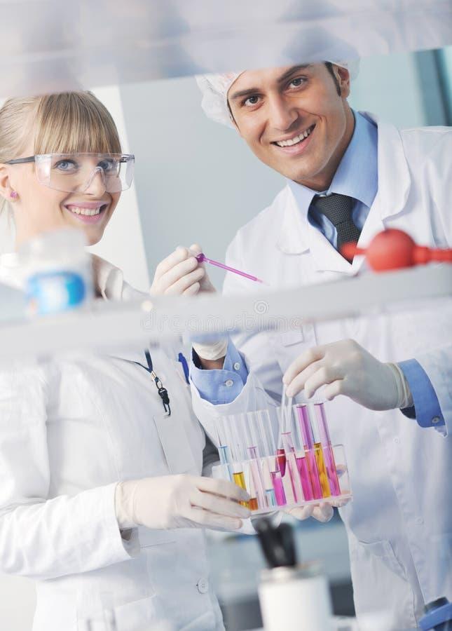 De mensen van de wetenschap in helder laboratorium royalty-vrije stock foto's