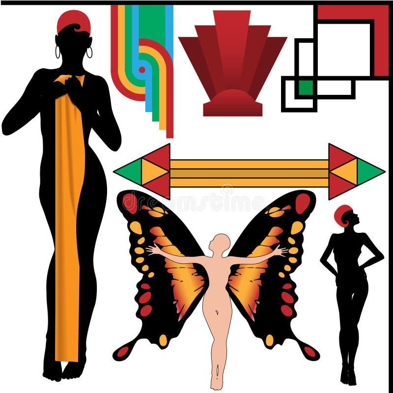De Mensen van het art deco stellen en van het Ontwerp Geplaatste Elementen vector illustratie