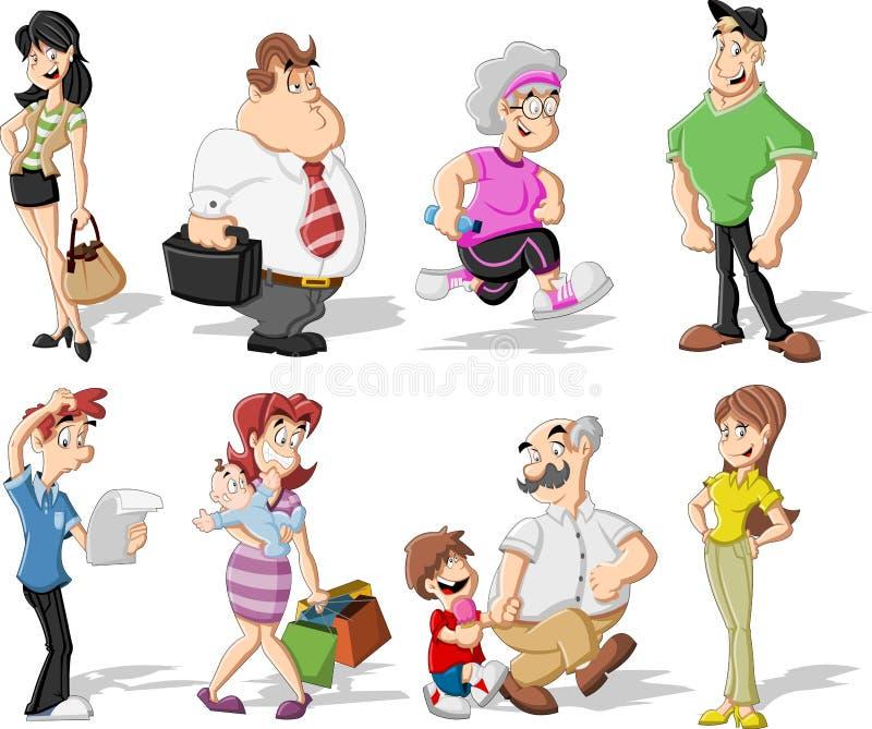De mensen van het beeldverhaal royalty-vrije illustratie