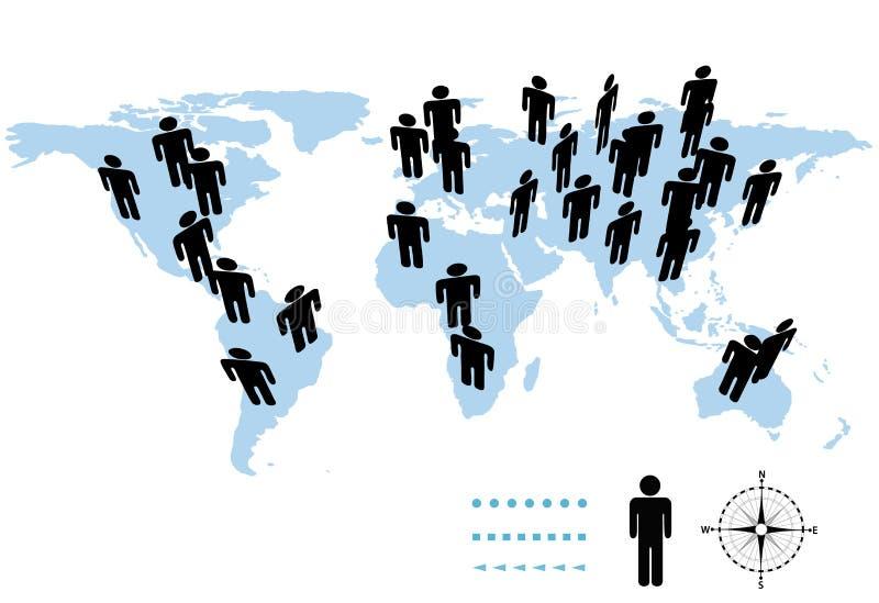 De Mensen van het Symbool van de Aarde van de Bevolking van de wereld op Kaart stock foto