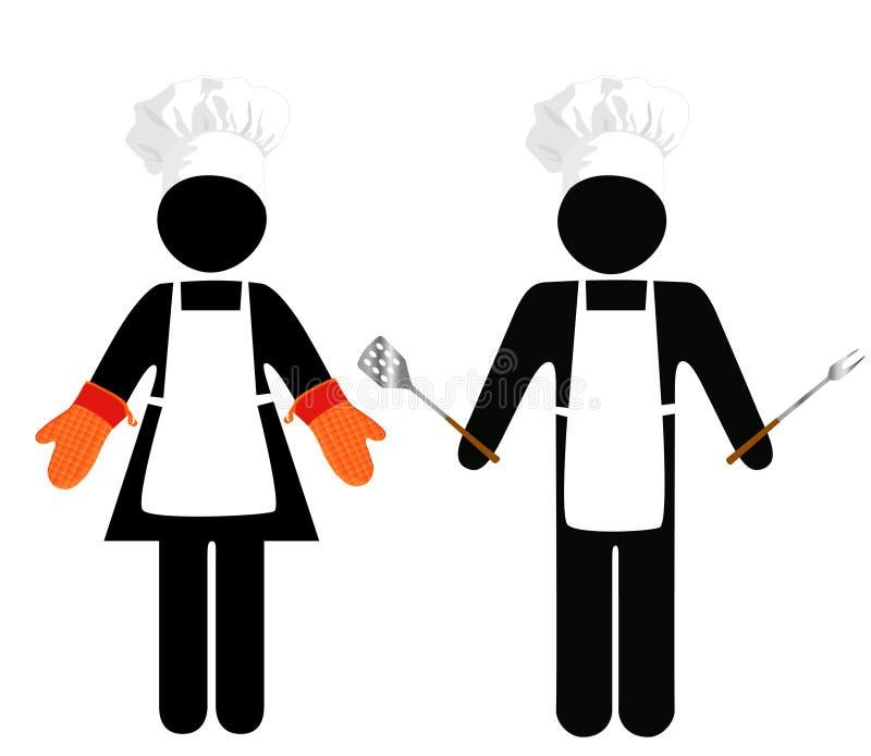 De Mensen van het Symbool van de Barbecue van de kok royalty-vrije illustratie