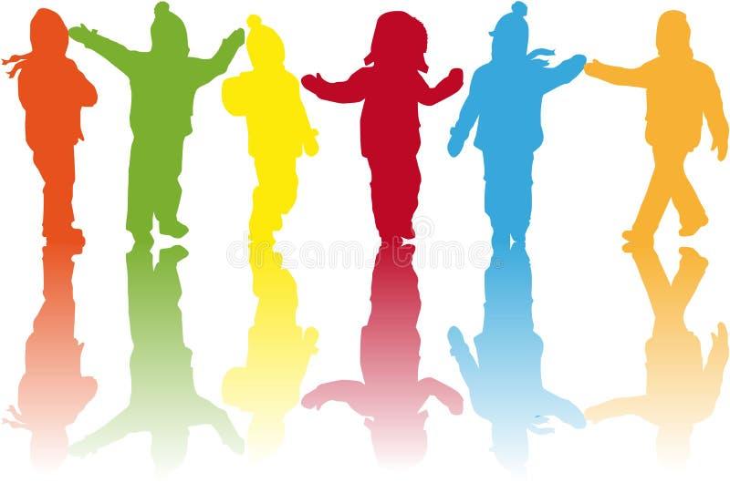De mensen van kinderensilhouetten stock illustratie