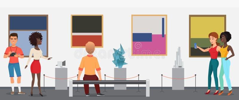 De mensen van museumbezoekers in de galerijmuseum van de kunsttentoonstelling nemen die beelden kijken Vector illustratie royalty-vrije illustratie
