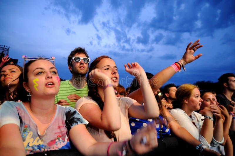 De mensen (ventilators) letten op een overleg van hun favoriete band bij FIB (Festival Internacional DE Benicassim) 2013 Festival stock fotografie
