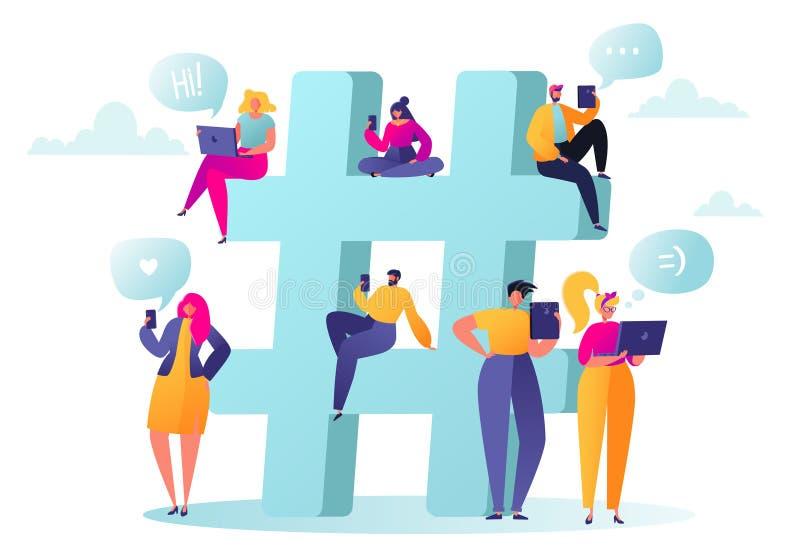 De mensen verzamelden zich dichtbij een groot symbool hashtag Vlakke mensenkarakters die in sociale netwerken babbelen vector illustratie
