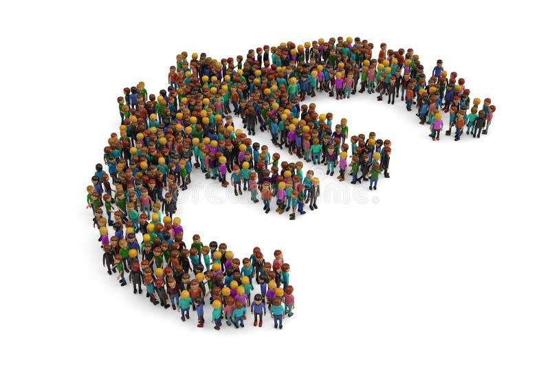 De mensen verzamelden zich samen in de vorm van een euro teken op witte bedelaars vector illustratie