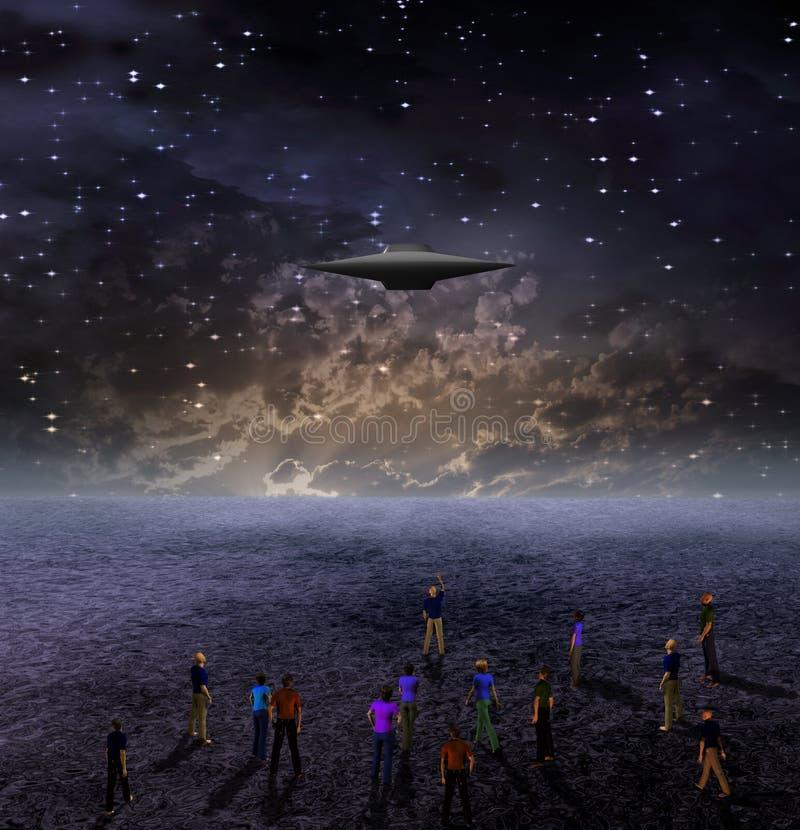 De mensen verzamelen zich onder RuimteAmbacht vector illustratie