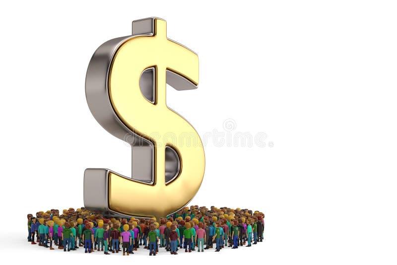 De mensen vormen als cirkel rond dollarteken op witte achtergrond royalty-vrije illustratie