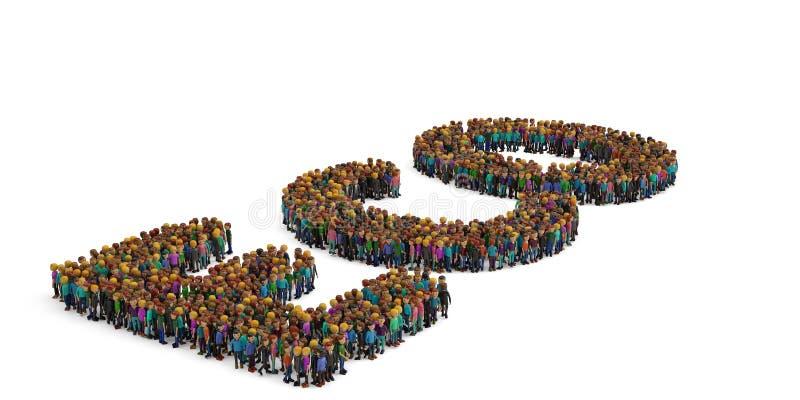 De mensen vormen als ECO-brief op witte achtergrond 3D Illustratie stock illustratie