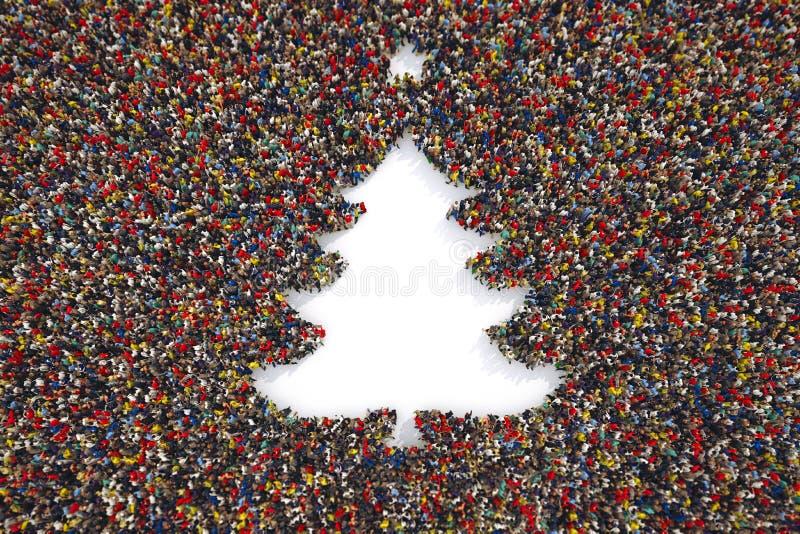 De mensen vormen de vorm van een Kerstmisboom het 3d teruggeven royalty-vrije illustratie