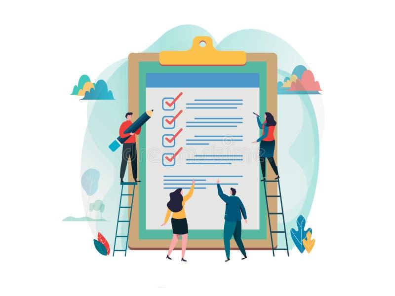 De mensen vullen controlelijst op een klembord in Online onderzoek Vul een vorm in onderzoek, verkiezing vlak beeldverhaalkarakte stock illustratie