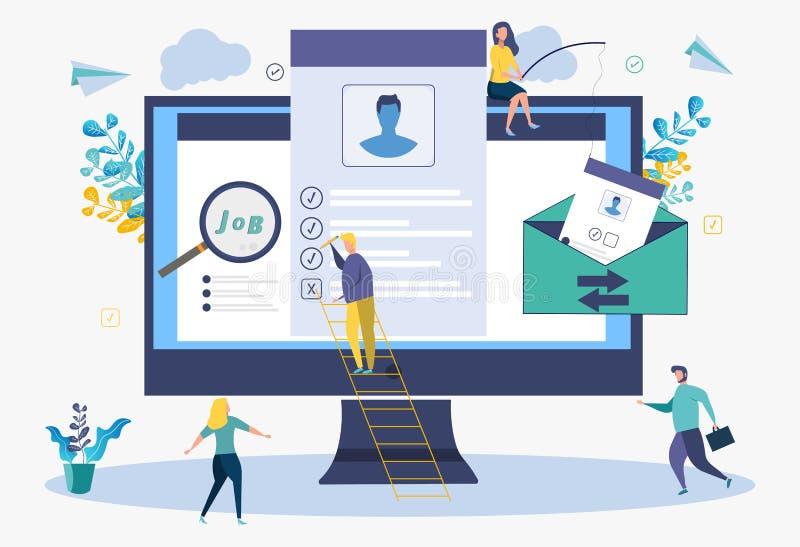 De mensen vullen een samenvattingsvorm in Online toepassing Het onderzoek van de baan Kleurrijke vectorillustratie Metafoor van s stock illustratie