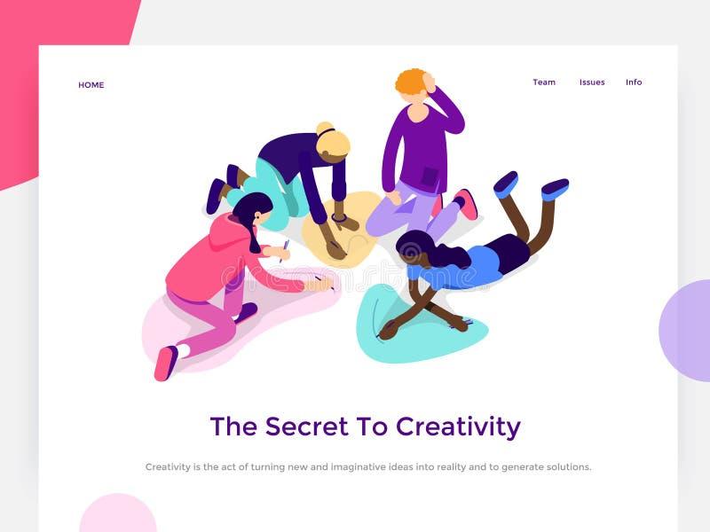 De mensen werken in een team en bereiken een doel Creatieve proces en brainstorming Landend Paginamalplaatje 3d vector isometrisc stock illustratie
