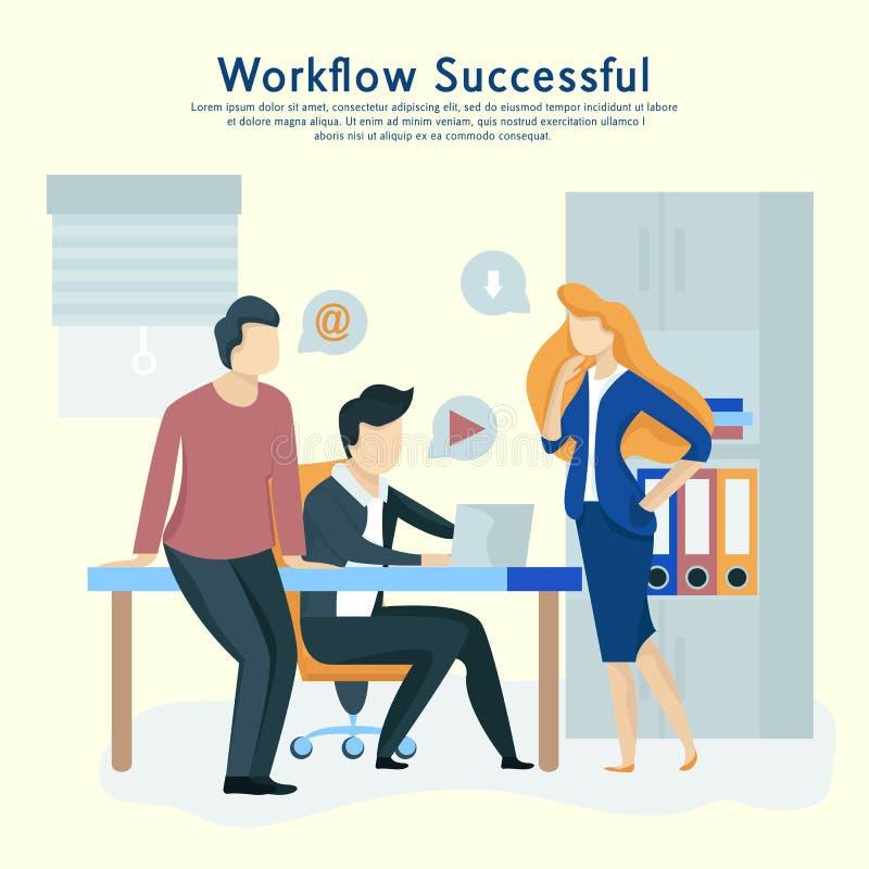 De mensen werken in een team en werken op elkaar in Bedrijfsmededeling, werkschema royalty-vrije illustratie