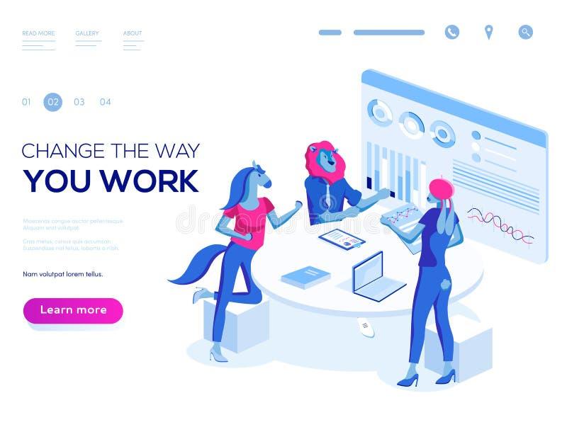 De mensen werken in een team en werken op elkaar in stock illustratie