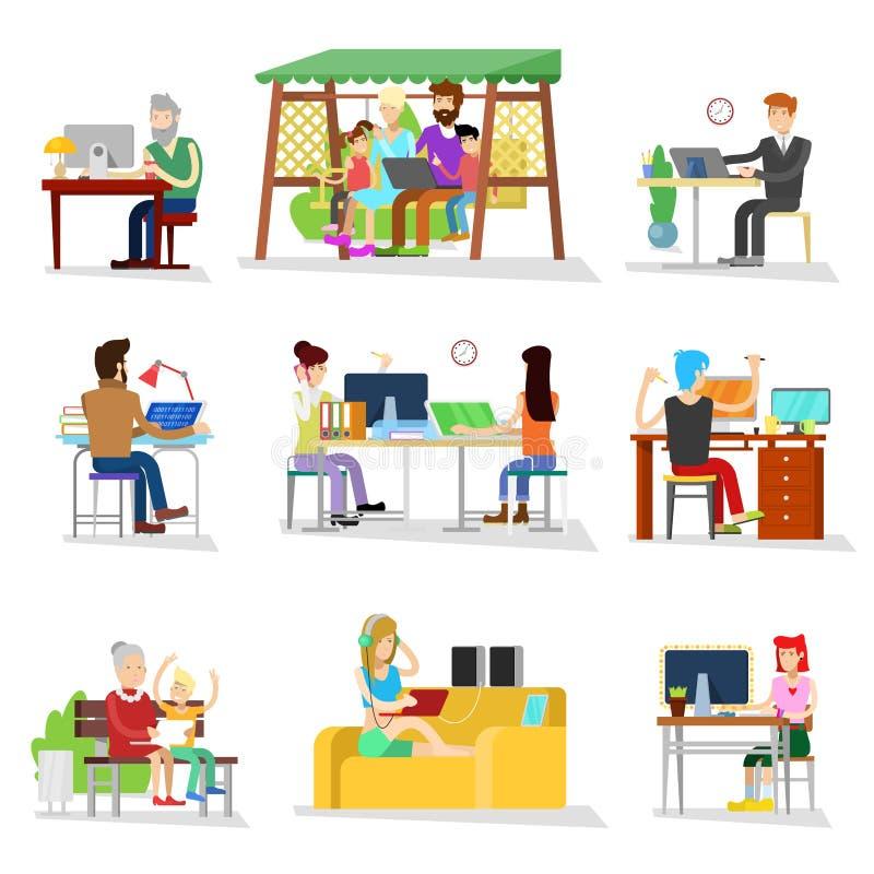 De mensen werken vector bedrijfsarbeider of persoon die aan laptop in bureauonderneemsters gewerkte mensen werken op computer met vector illustratie