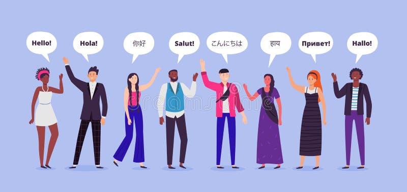 De mensen zeggen hallo Hello op verschillende talen, de personen van de groetenwereld en het communiceren mensen vlakke vectorill stock illustratie