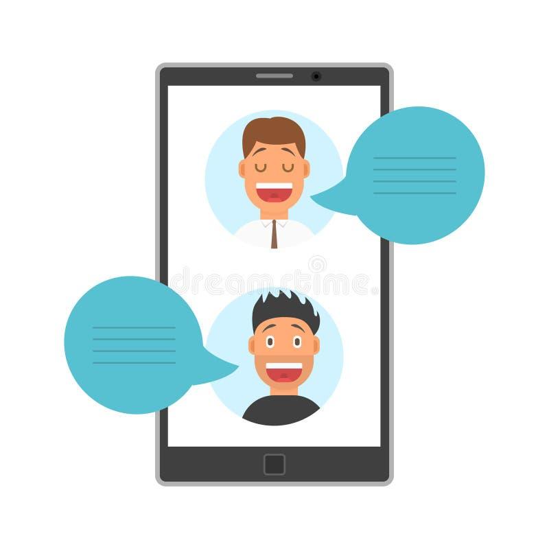 De mensen zien Avatars op het Scherm van Smartphone met de Bellen van de Dialoogtoespraak, Sociale Media Voorzien van een netwerk vector illustratie
