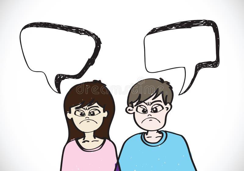 De mensen zien emotiespictogrammen met de bellen van de dialoogtoespraak onder ogen royalty-vrije illustratie