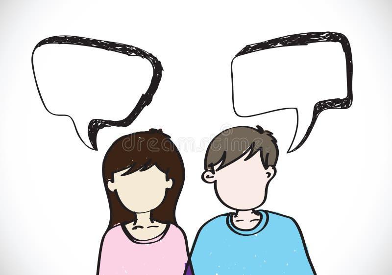 De mensen zien emotiespictogrammen met de bellen van de dialoogtoespraak onder ogen stock illustratie