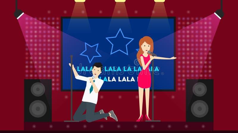 De mensen zingen in karaoke vector illustratie