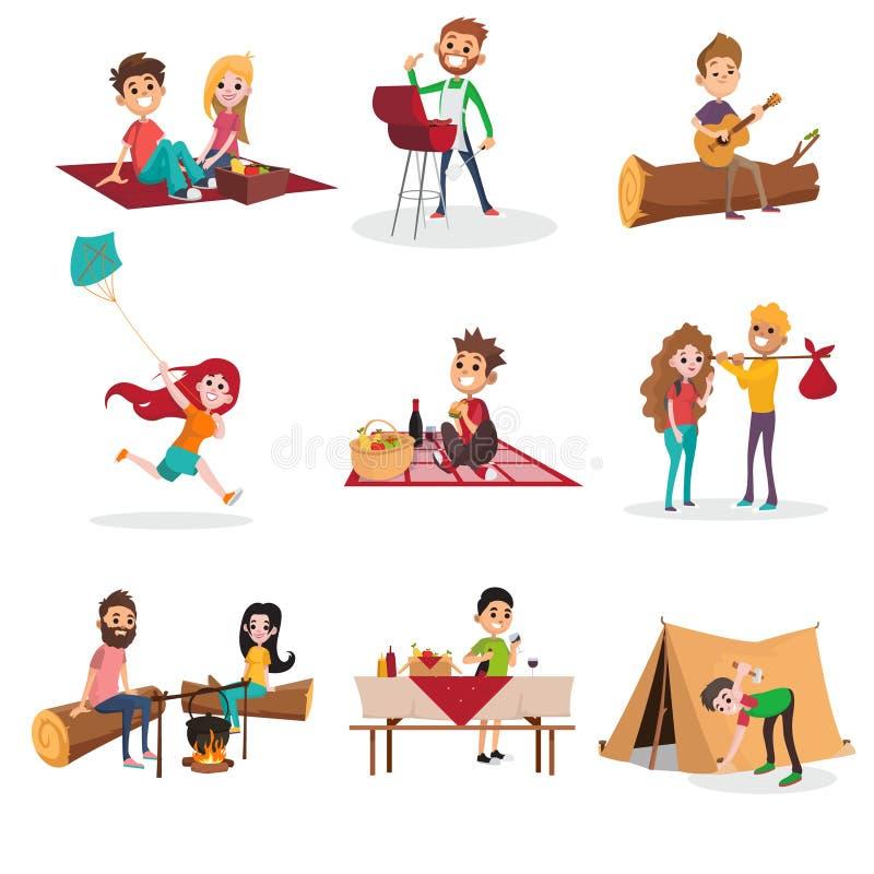 De mensenactiviteiten van de de zomertijd op picknick, grill of barbecue, man en vrouwenzitting door de brand, jongen die een ten vector illustratie