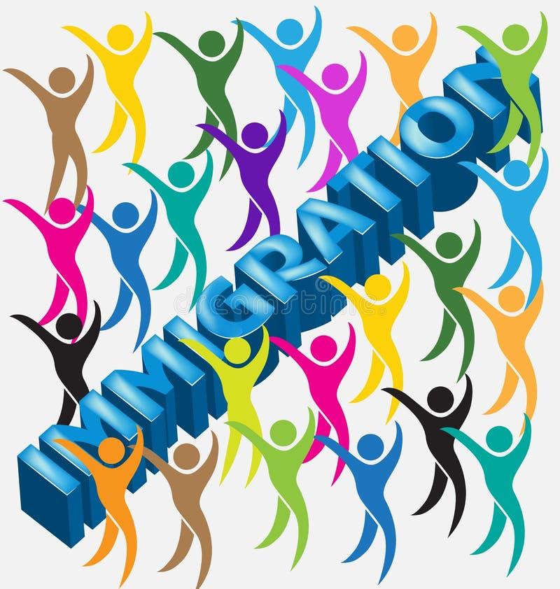 De mensencijfers van het immigratie 3d woord royalty-vrije illustratie
