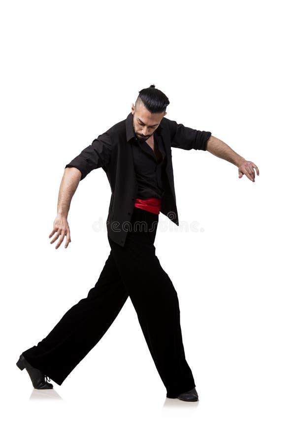 De mensendanser het dansen Spaanse die dansen op wit worden geïsoleerd royalty-vrije stock foto