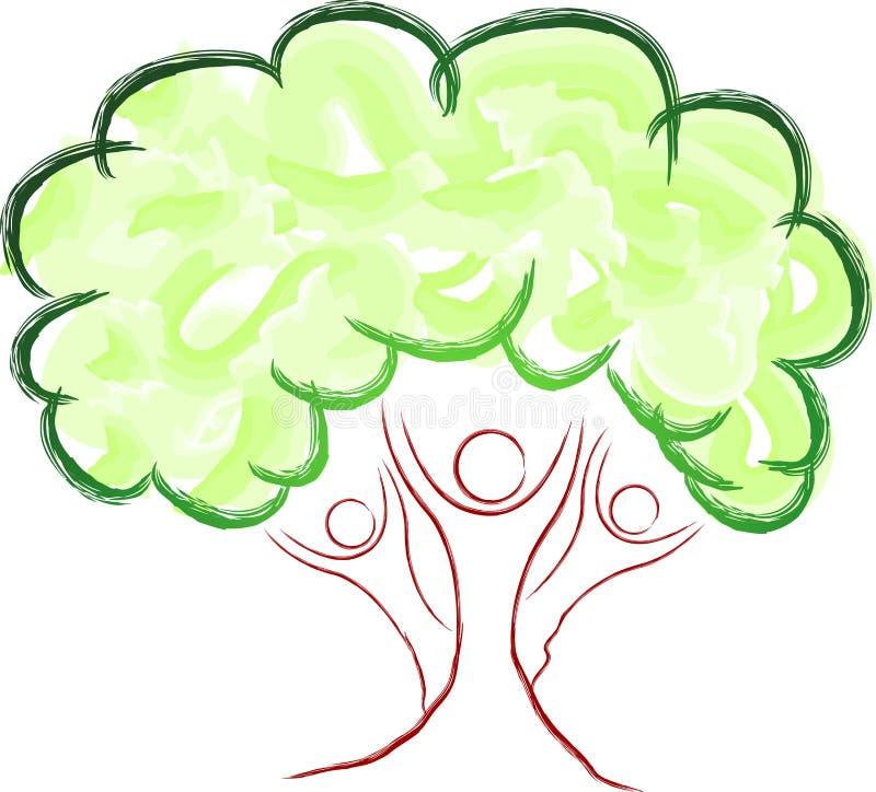 De mensenembleem van de boom royalty-vrije illustratie