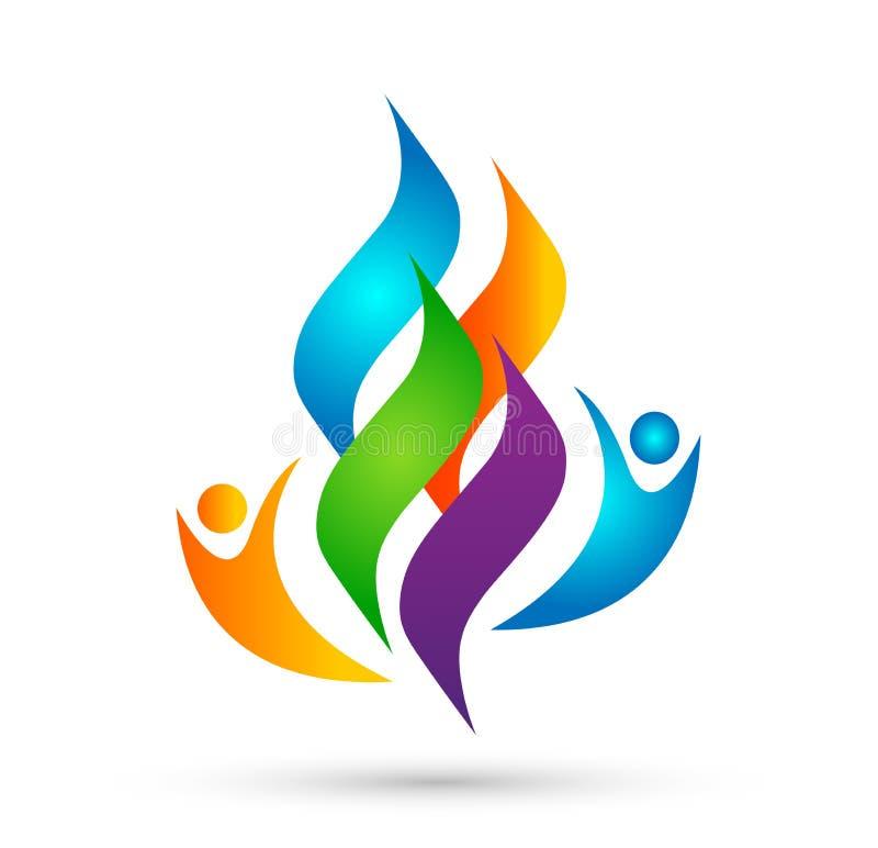 De mensenembleem van de vlambrand, de moderne vector van het het pictogramontwerp van het vlammen logotype symbool op witte achte stock illustratie