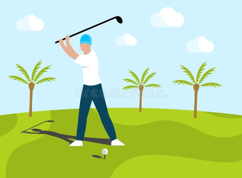 De mensengolfspeler die op golfcursus zetten en kweekt rond palmen Het menselijke spelen in golf in openlucht, vectorontwerp vector illustratie